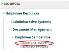employee resources menu open with the submenu employee self-service open and benefits and deductions sub-submenu open and circled in red
